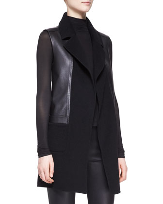 Sheer-Sleeve Turtleneck Top, Felt Vest with Leather & Lambskin ...
