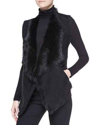 Draped Shearling Vest, Black