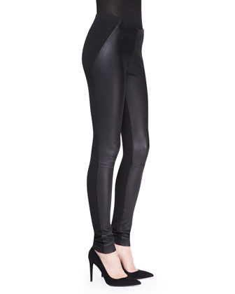 Lambskin Leather/Jersey Leggings