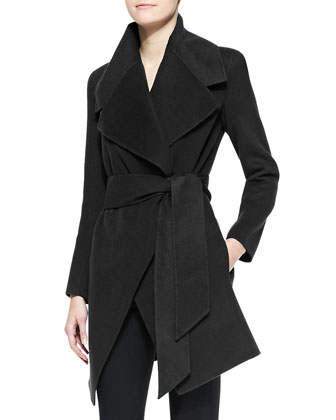 Self-Belt Cashmere Wrap Coat