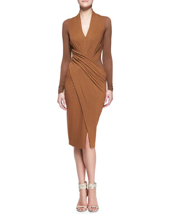 Cool Jersey Draped Long-Sleeve Dress
