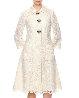 Silver Ball-Buttoned Macrame Lace Coat & Strapless Cocktail Dress
