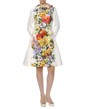 Engineered Floral-Print Long Coat & A-Line Shift Dress