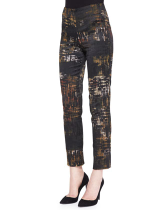 Long-Sleeve Open-Back Tunic & Slim Abstract Printed Pants