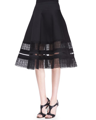 Long-Sleeve Peekaboo Slash Top & Lace-Inset Circle Skirt