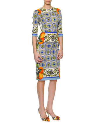 Tile-Print Fitted Silk Dress