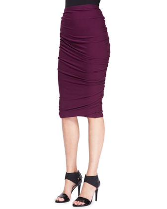 Long-Sleeve One-Shoulder Top and Crush Ruched Jersey Skirt