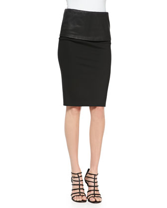 Tailored Menswear Shirt & Structured Pencil Skirt with Leather Band