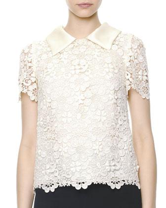 Short-Sleeve Macrame Lace Blouse, Ecru