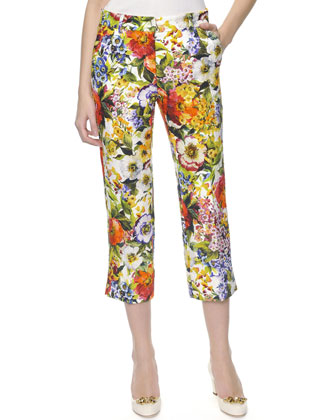 Floral-Print Ankle Pants, White/Multicolor