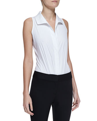 Sleeveless Collared Poplin Bodysuit & Peplum Zip Jacket with Leather Detail