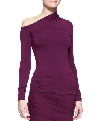 Long-Sleeve One-Shoulder Drape Top