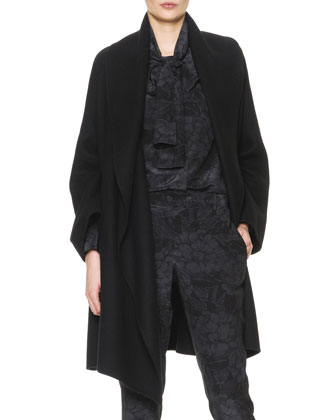 Wide-Collared Cashmere Coat with Belt, Nero Black