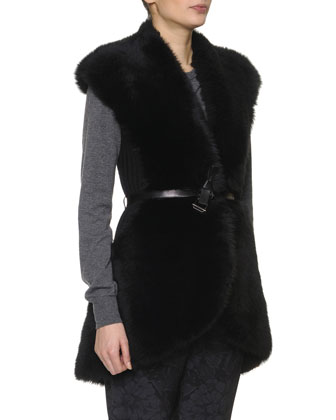 Shearling Fur & Merino Wool Vest, Nero Black