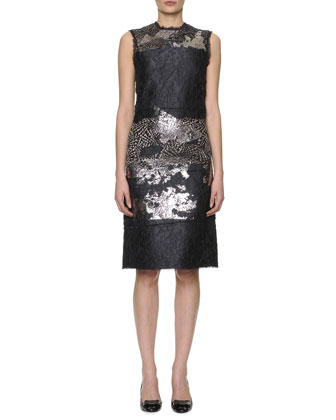 Sleeveless Metallic-Laminated Floral Cloque Dress, Black/Silver