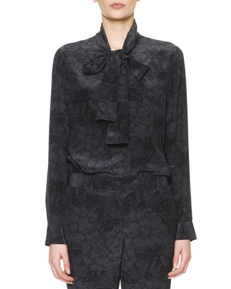 Long-Sleeve Chrysanthemum-Print Silk Blouse, Black/Gray