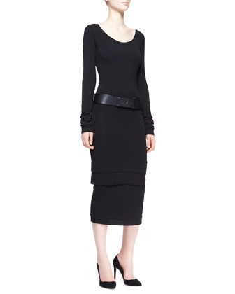 Long-Sleeve Layered-Hem Dress, Black