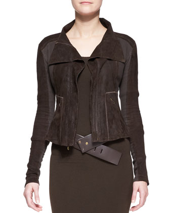 Long-Sleeve Zip-Front Jacket, Long-Sleeve Layered-Hem Dress & Wide Leather ...