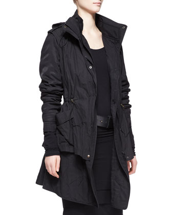 Jacket with Detachable Vest, Long-Sleeve Layered-Hem Dress & Wide Leather ...