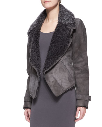 Short Lambskin Shearling Jacket & Long-Sleeve Layered-Hem Dress