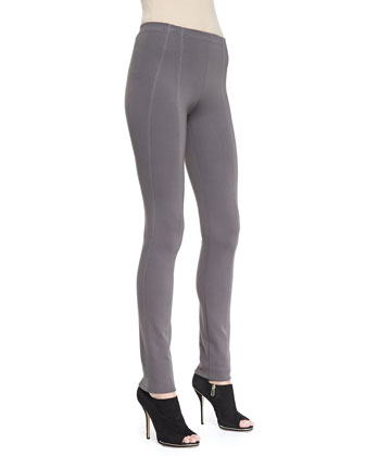 Pull-On Seamed Legging Pants, Slate