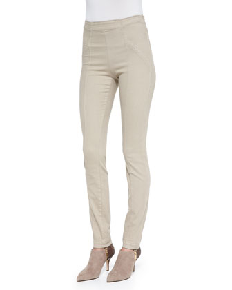 Stretch Denim Skinny Pants, Putty
