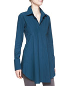 Easy Stretch Poplin Shirt Tunic, Teal