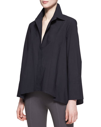 Long-Sleeve Button-Up Cotton Shirt, Black