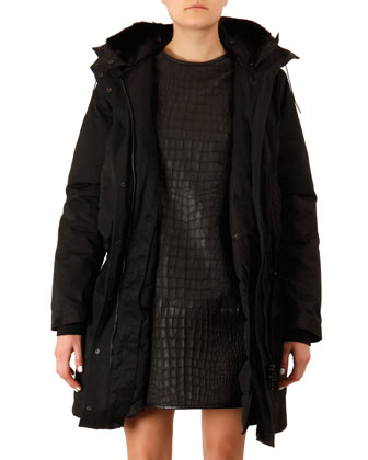 Fur-Trim Long Powder Jacket and Crocodile-Embossed Leather Dress