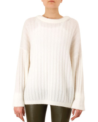 Dropped-Sleeve Mohair-Blend Sweater and Skinny Leather Leggings