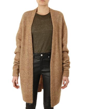 Raya Oversized Knit Cardigan, Cap-Sleeve Slub Tee & Leather Skinny Pants