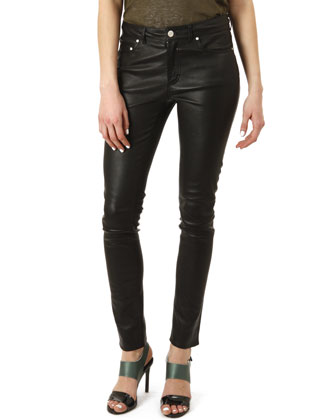 Five-Pocket Leather Skinny Pants