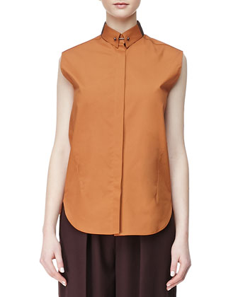 Sleeveless High-Low Turtleneck Sweater, Sleeveless Poplin Blouse & Wool ...