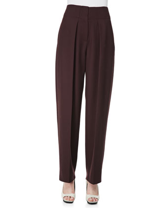 Wool Wide-Leg Trousers, Mulberry