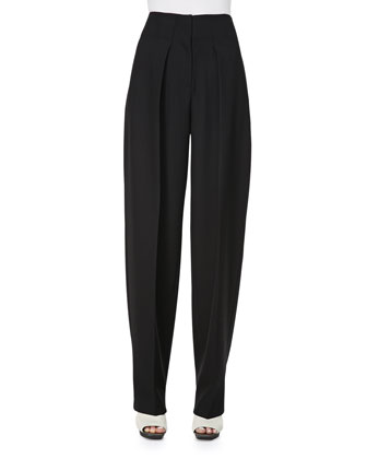 Wool Wide-Leg Trousers, Black