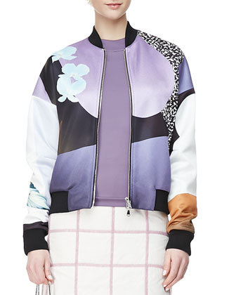 Dropped-Shoulder Printed Bomber Jacket, Arc Line Long-Sleeve Top & Grid ...