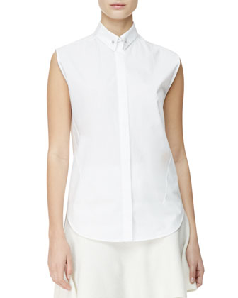 Sleeveless Poplin Blouse, White