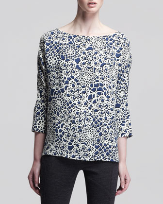 Stained Glass-Print Bateau Top