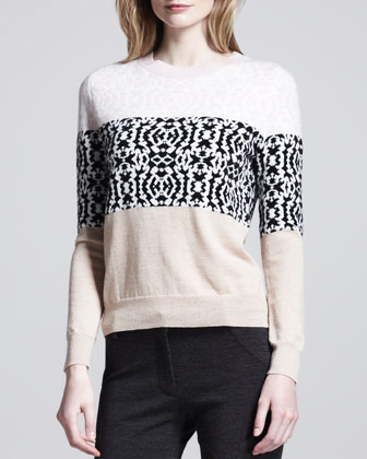 Multi-Print Striped Pullover