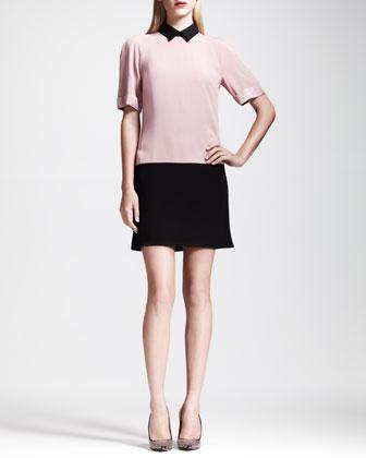 Colorblock Crepe Tunic Dress