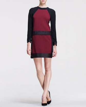 Long-Sleeve Bonded Frame Dress