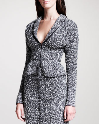 Tweed Peplum Jacket, Gray/Black