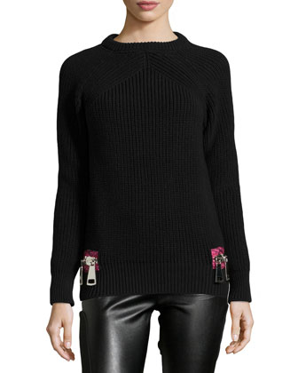 Contrast Zipper Detailed Knit Sweater, Black/Fuchsia