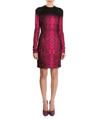 Snakeskin-Print Long-Sleeve Dress