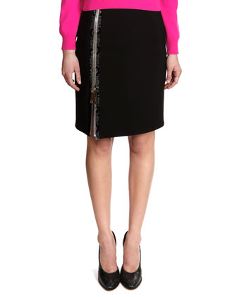 Cashmere Crewneck Sweater & Snakeskin Print-Trim Big-Zip Jersey Skirt