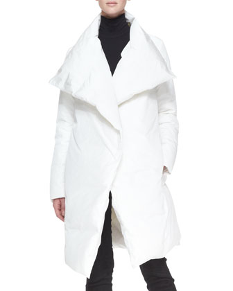 Down Puffer Clutch Coat, White