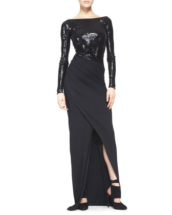 Floor-Length Long-Sleeve Gown with Sequins, Black