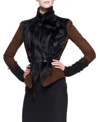 Belted Lambskin Suede & Fur Jacket, Cognac/Black