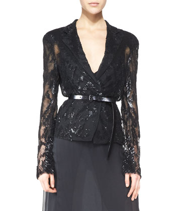 Belted Long-Sleeve Sequined Jacket, Sleeveless Sheer-Back Bodysuit & Silk Skirt