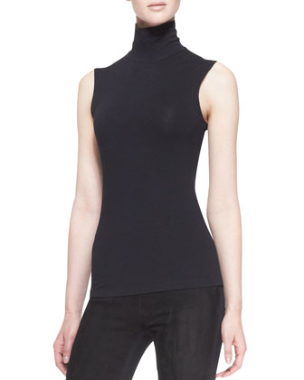 Sleeveless Back-Zip Turtleneck, Black